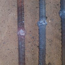 Connected rebars using flash butt welding